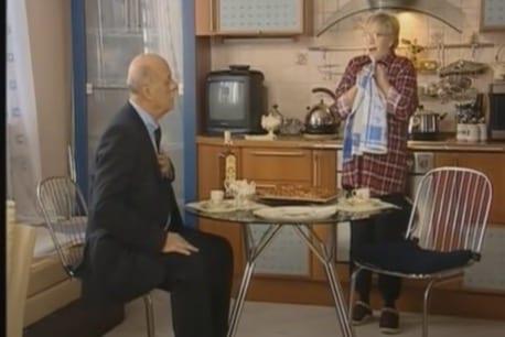 Screenshot from Female Logic (2002-2006). Olga entertains Streltsov.
